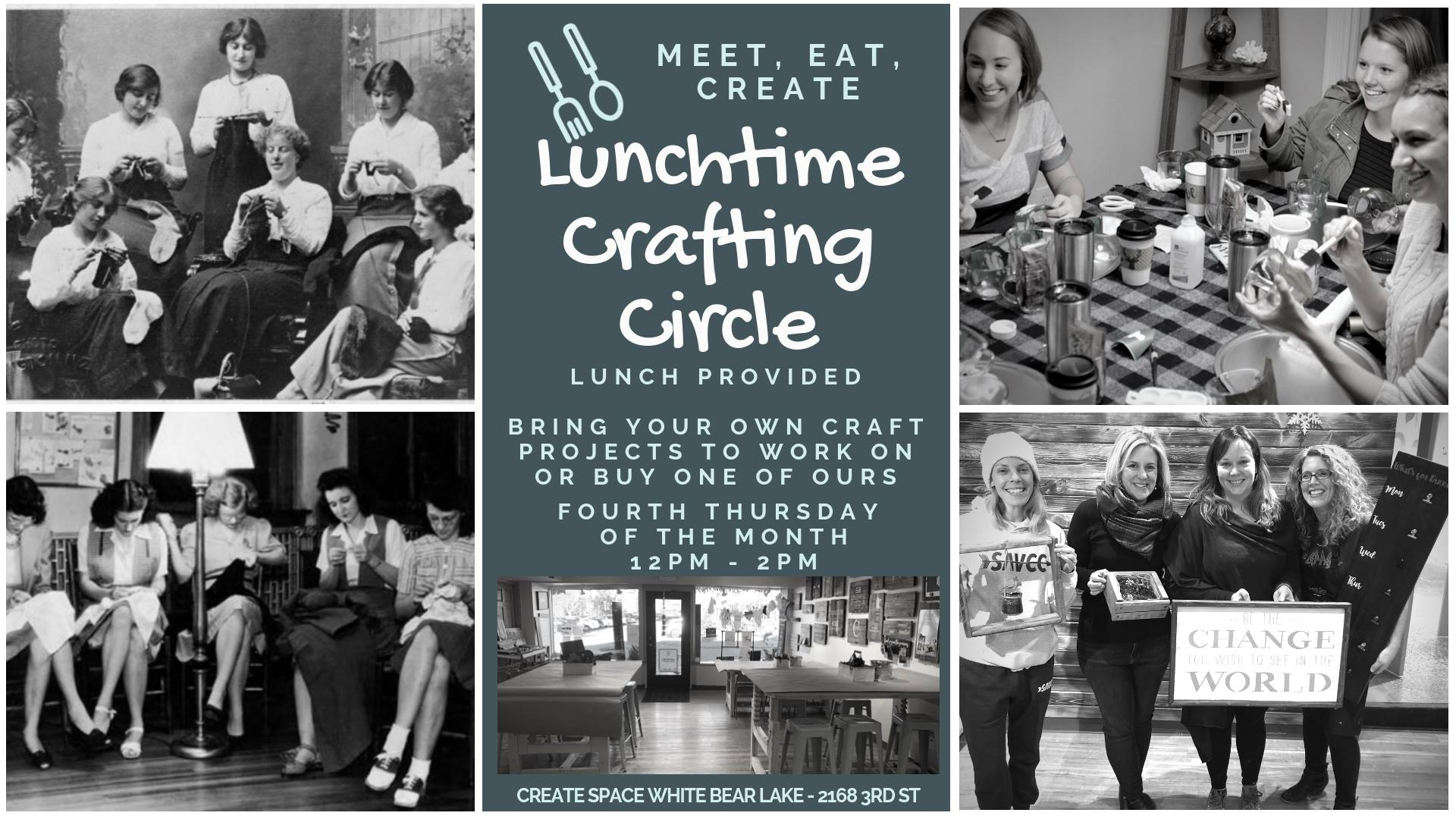 Image depicting our unchtime Crafting Circle event information.