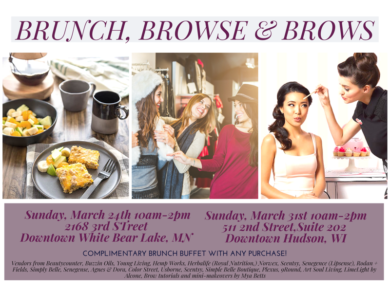 Information on the Brunch, Browse and Browse event held at Create Space White Bear Lake on March 24th and Hudson on March 31st from 10am to 2 pm.